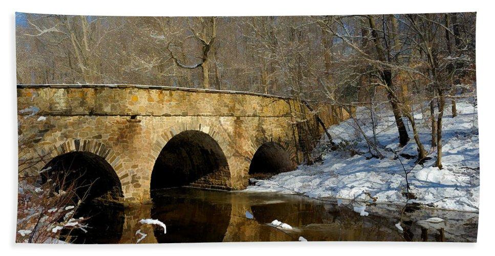 Bridge. Creek Hand Towel featuring the photograph Bridge In Woods by William Jobes