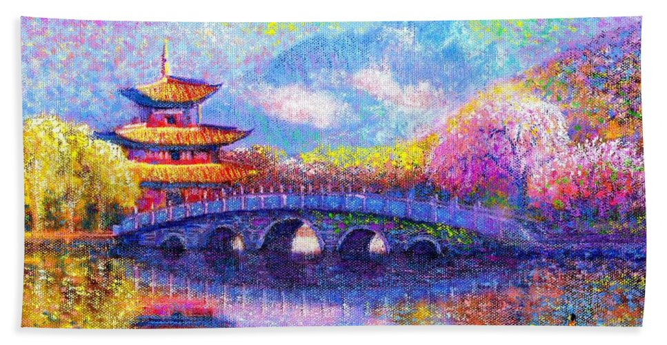 Blossom Bath Towel featuring the painting Bridge Of Dreams by Jane Small