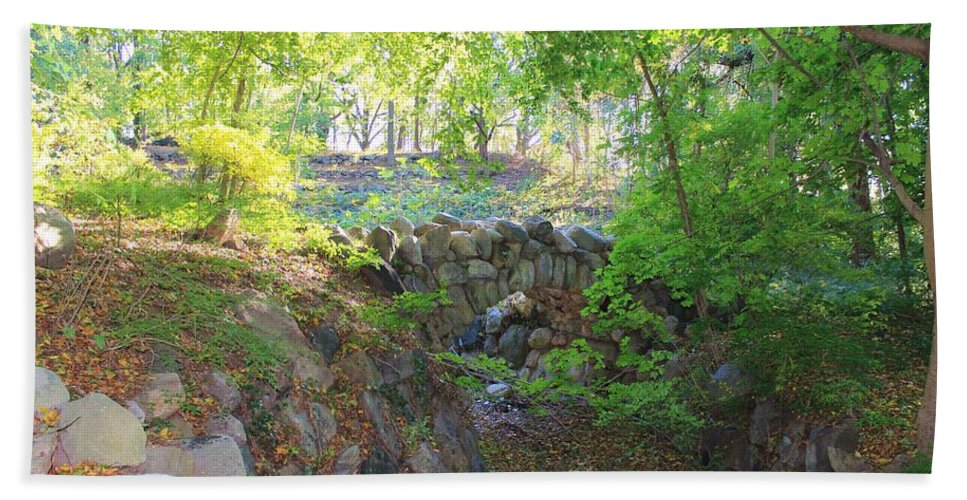 Stones Bath Sheet featuring the photograph Bridge Over Abandoned Moat by Karen Silvestri
