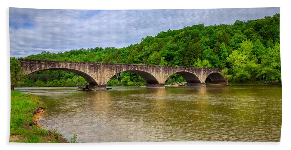 Bridge Hand Towel featuring the photograph Bridge Over Cumberland River by Alexey Stiop