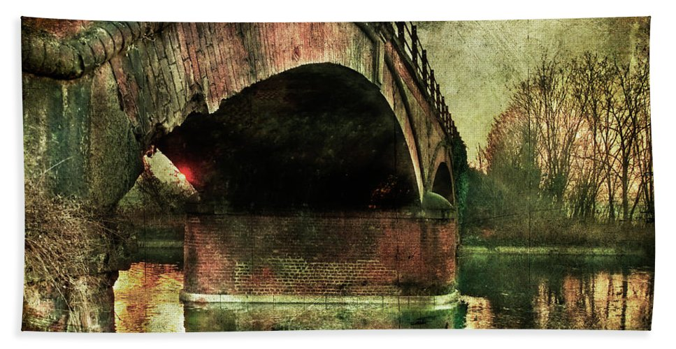 Albairate Bath Sheet featuring the photograph Bridge Over The Canal by Roberto Pagani
