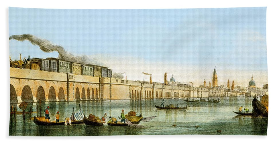 Venice Hand Towel featuring the painting Bridge Over The Lagoon by Giovanni Pividor