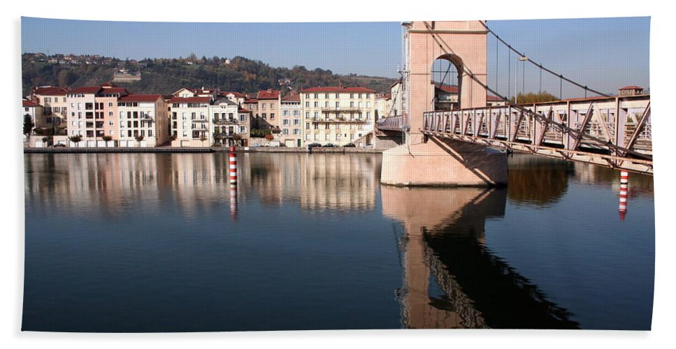 Bridge Bath Sheet featuring the photograph Bridge Over The Rhone River by Laurel Talabere