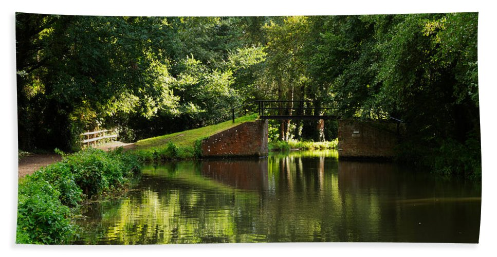 English Canals Hand Towel featuring the photograph Bridge Over The Wey Navigation In Surrey by Louise Heusinkveld