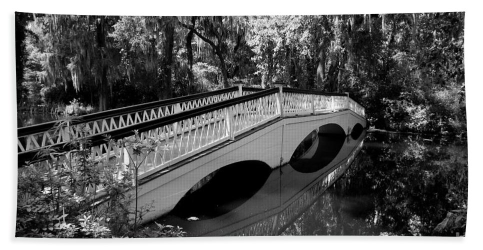 White Bridge Bath Sheet featuring the photograph Bridge Reflection - Magnolia Plantation by Christiane Schulze Art And Photography