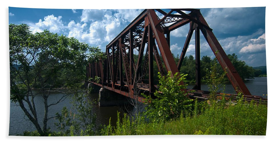 train Bridge Hand Towel featuring the photograph Bridge To A Time Gone By by Paul Mangold