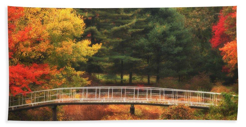 Autumn Bath Sheet featuring the photograph Bridge To Autumn by Karol Livote