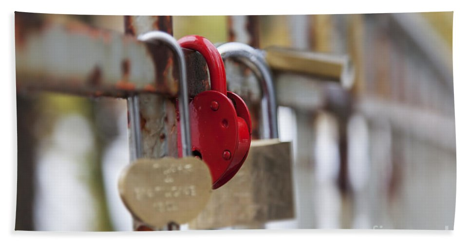 Love Hand Towel featuring the photograph Bridge With Padlocks In Riga by Sophie McAulay
