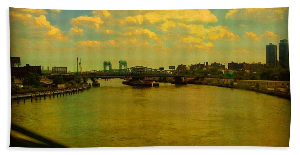 New York Hand Towel featuring the photograph Bridge With Puffy Clouds by Miriam Danar