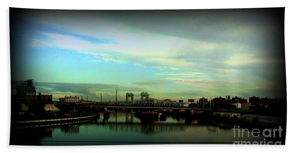 New York Hand Towel featuring the photograph Bridge With White Clouds Vignette by Miriam Danar