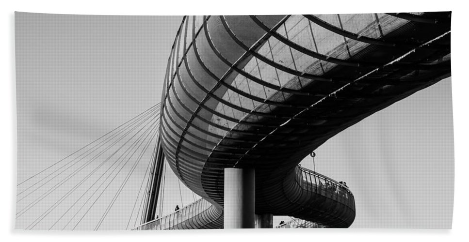 Black Hand Towel featuring the photograph Bridges In The Sky by Andrea Mazzocchetti