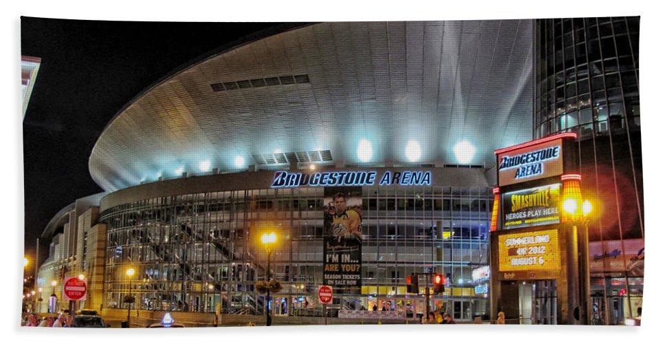 Nashville Hand Towel featuring the photograph Bridgestone Arena - Nashville by Mountain Dreams