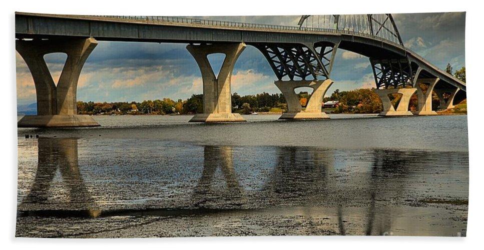 Lake Champlain Bridge Bath Sheet featuring the photograph Bridging Vermont And New York by Adam Jewell