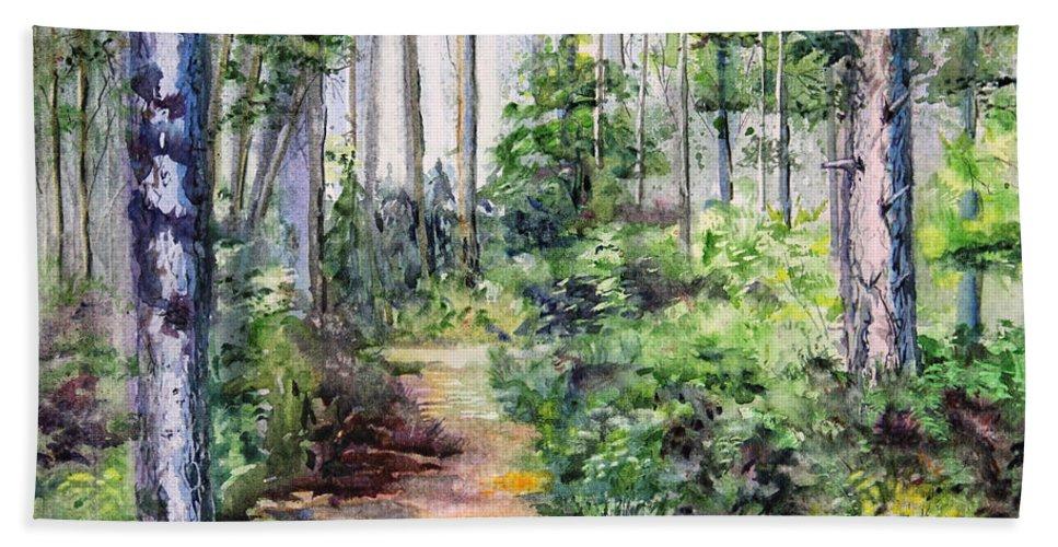 Landscape Bath Sheet featuring the painting Bridle Path by Kristine Plum