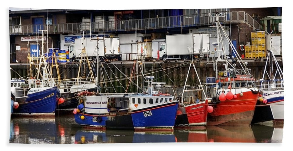 Anchored Hand Towel featuring the photograph Bridlington Marina by Svetlana Sewell