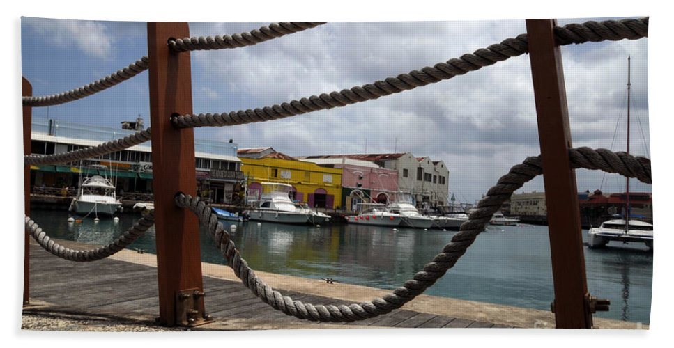 Pier Bath Sheet featuring the photograph Brigdetown by Jorge Erick Ramos