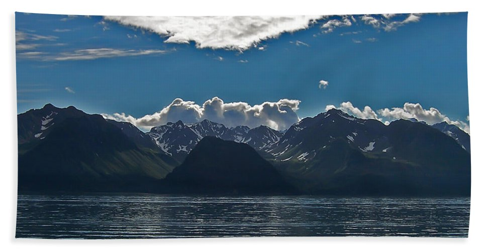 Alaska Glacier Bath Sheet featuring the photograph Bright And Cloudy by Aimee L Maher ALM GALLERY