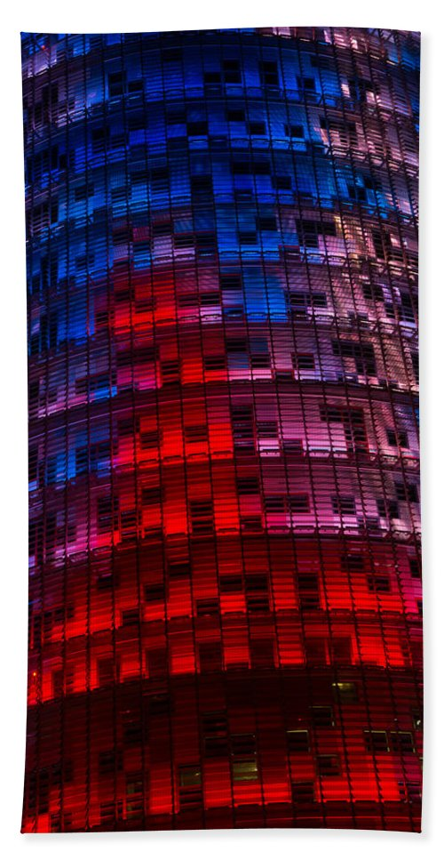 Agbar Tower Hand Towel featuring the photograph Bright Blue Red And Pink Illumination - Agbar Tower Barcelona by Georgia Mizuleva