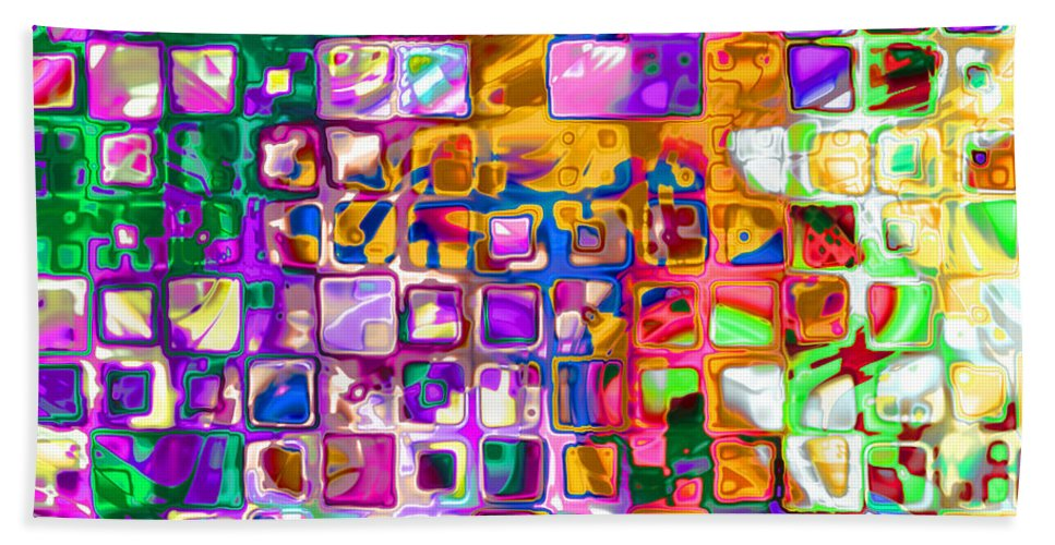 Abstract Bath Sheet featuring the digital art Bright Boxes I by Debbie Portwood