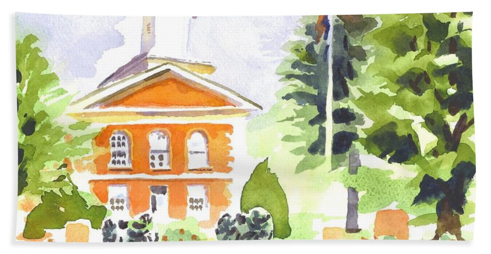 Bright Morning At The Courthouse Bath Sheet featuring the painting Bright Morning At The Courthouse by Kip DeVore