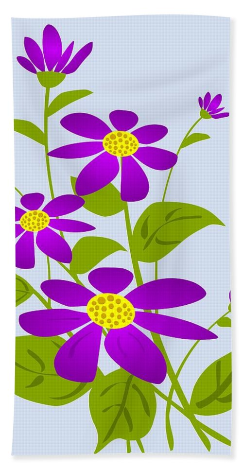 Plant Bath Sheet featuring the digital art Bright Purple by Anastasiya Malakhova