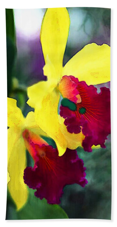 Nature Hand Towel featuring the painting Bright Spot In The Jungle by Elaine Plesser