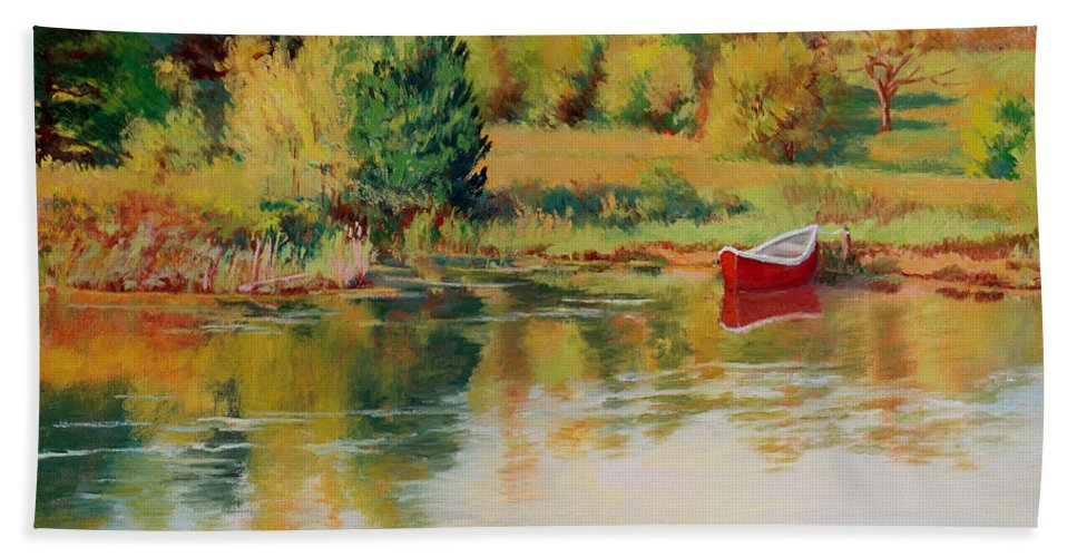 Landscape Bath Sheet featuring the painting Bright Spring Afternoon by Keith Burgess