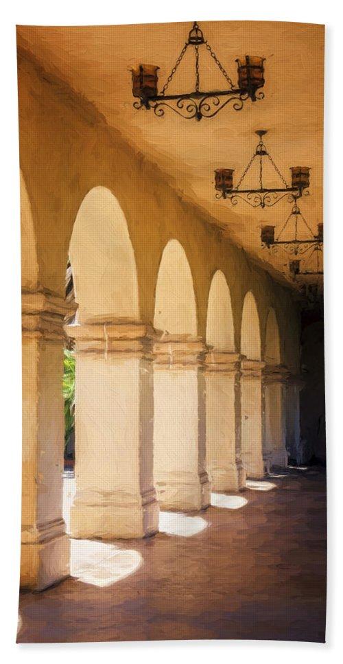 Joan Carroll Bath Sheet featuring the photograph Bright Sun Cool Shade Balboa Park by Joan Carroll