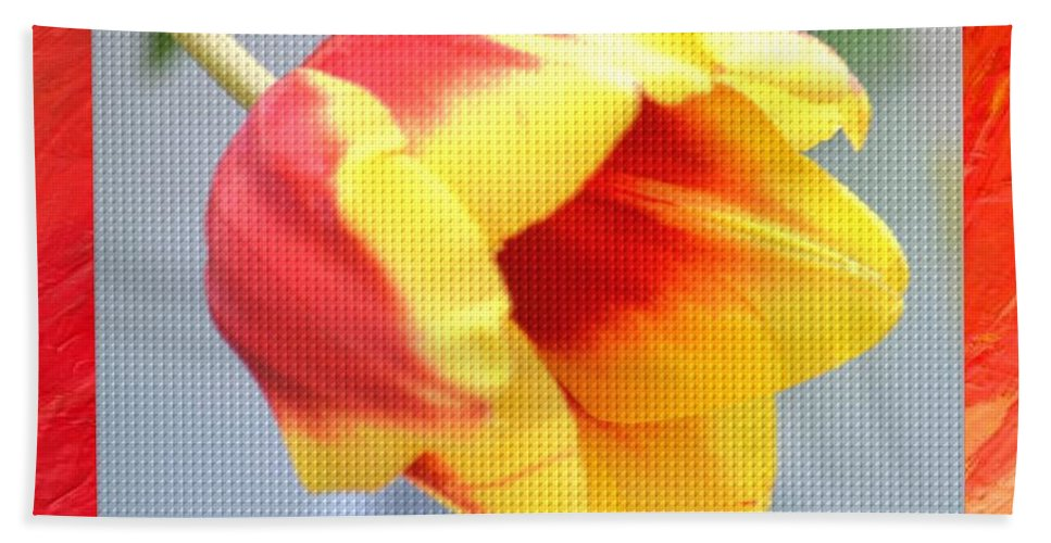 Bright Tulip Hand Towel featuring the photograph Bright Tulip by Maria Urso