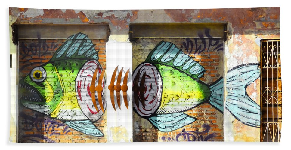 Anne Mott Hand Towel featuring the photograph Brightly Colored Fish Mural by Anne Mott