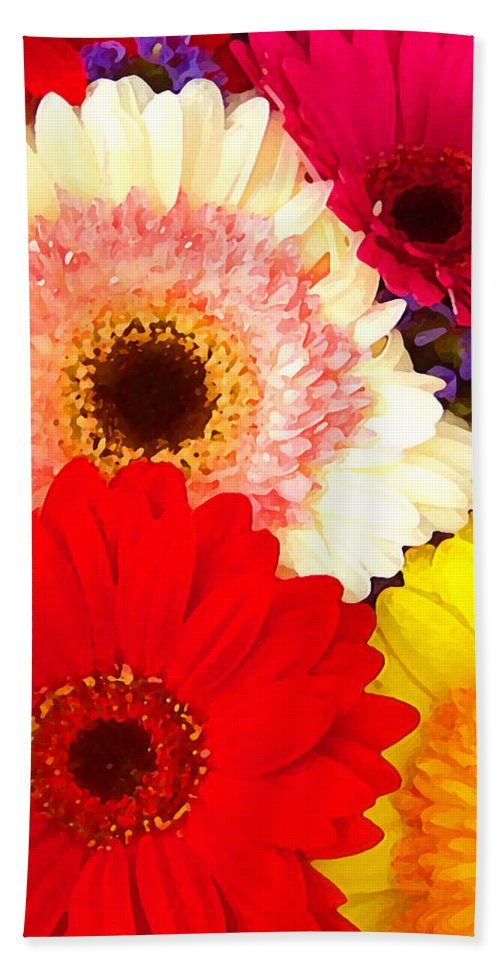 Daisies Hand Towel featuring the painting Brightly Colored Gerbers by Amy Vangsgard