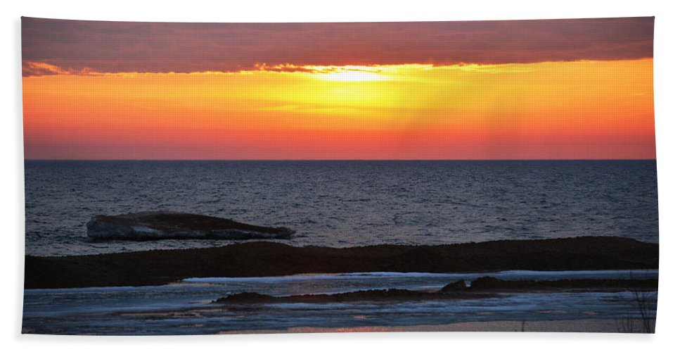 Lake Michigan Hand Towel featuring the photograph Brilliant Sunset by Linda Kerkau