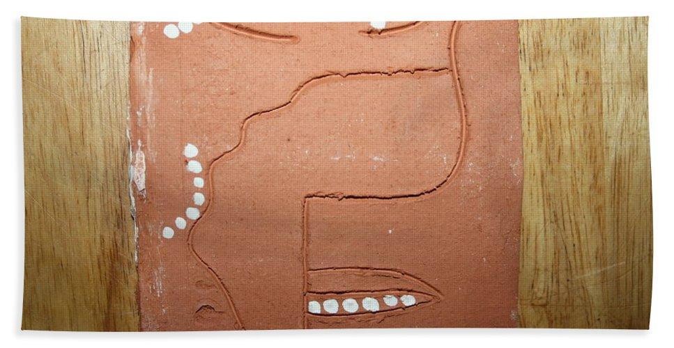 Jesus Hand Towel featuring the ceramic art Brimful - Tile by Gloria Ssali
