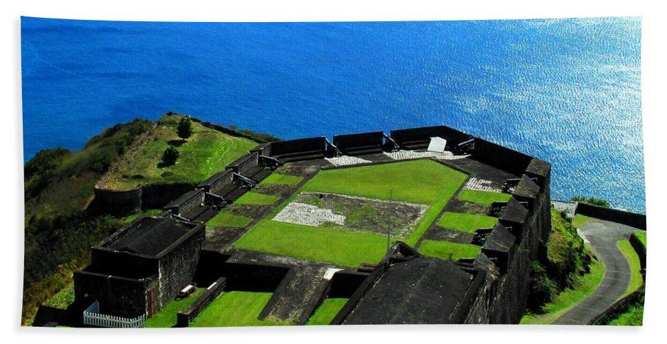 Brimstone Bath Sheet featuring the photograph Brimstone Fortress St Kitts by Ian MacDonald