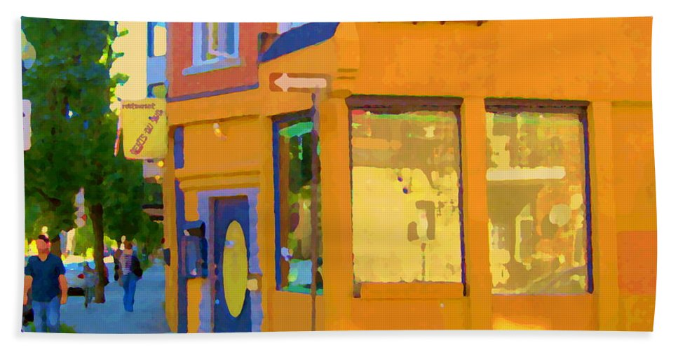 Montreal Hand Towel featuring the painting Bring Your Own Wine Restaurant Vents Du Sud Rue Roy Corner French Cafe Street Scene Carole Spandau by Carole Spandau