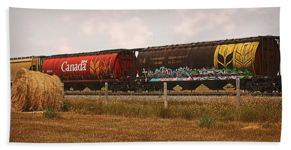 Railroad Hand Towel featuring the photograph Bringing In The Wheat Canadian Railroad by Terry Fleckney