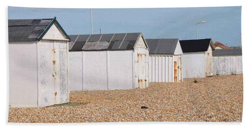 Beach Hand Towel featuring the photograph British Beach Huts In Sussex by David Fowler