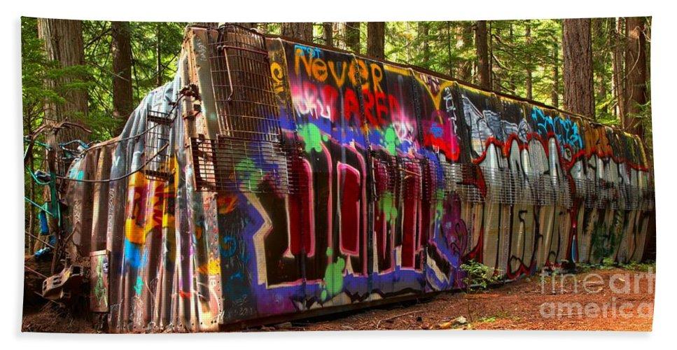 Train Wreck Hand Towel featuring the photograph British Columbia Train Wreck Graffiti by Adam Jewell