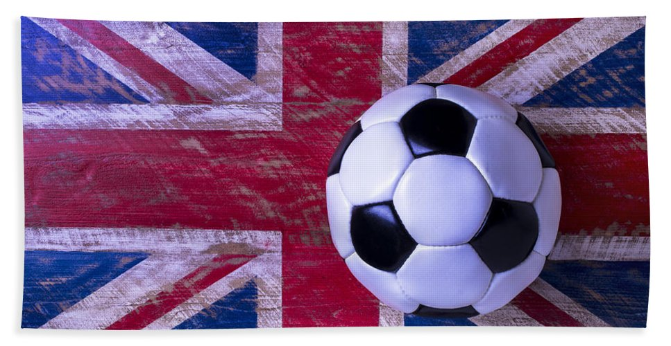 Soccer Ball Hand Towel featuring the photograph British Flag And Soccer Ball by Garry Gay