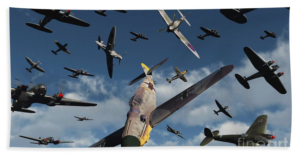 Artwork Hand Towel featuring the digital art British Supermarine Spitfires Attacking by Mark Stevenson