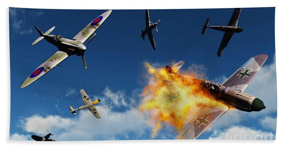 Artwork Hand Towel featuring the digital art British Supermarine Spitfires Battle by Mark Stevenson