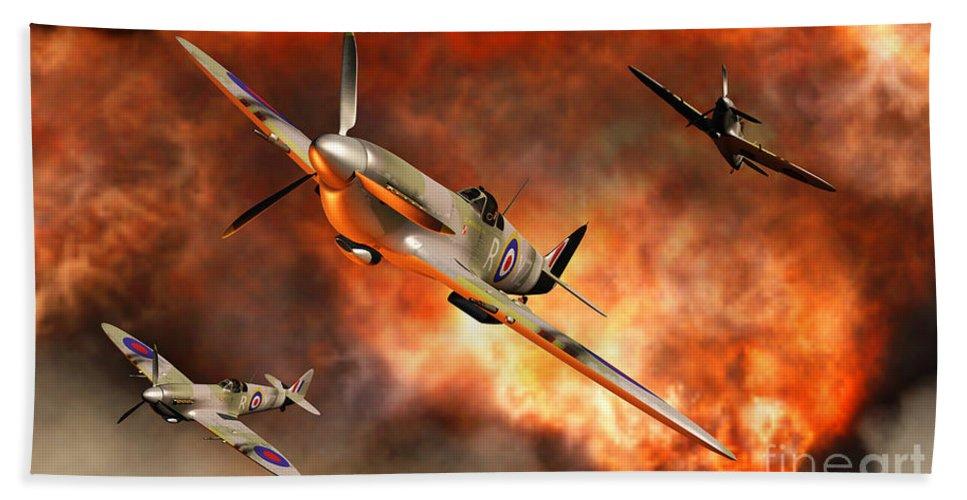Artwork Hand Towel featuring the digital art British Supermarine Spitfires Bursting by Mark Stevenson