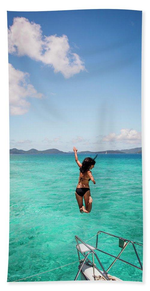 20-29 Years Hand Towel featuring the photograph British Virgin Islands, Caribbean by David Hanson