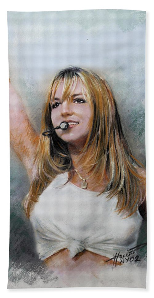 Recording Artist Hand Towel featuring the drawing Britney Spears by Viola El