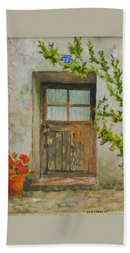 Door Bath Towel featuring the painting Brittany Door by Mary Ellen Mueller Legault