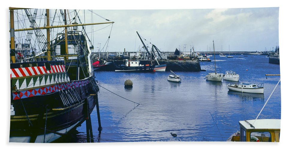 Brixham England Devonshire England Water Boat Boats Waterscape Waterscape United Kingdom Great Britain Port Ports Dick Docks Odds And Ends Bath Sheet featuring the photograph Brixham Port by Bob Phillips