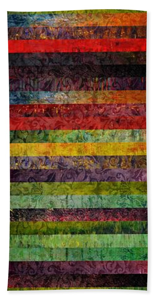Brocade Hand Towel featuring the painting Brocade And Stripes Tower 1.0 by Michelle Calkins
