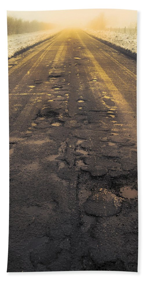 Cold Hand Towel featuring the photograph Broken Road by Svetlana Sewell