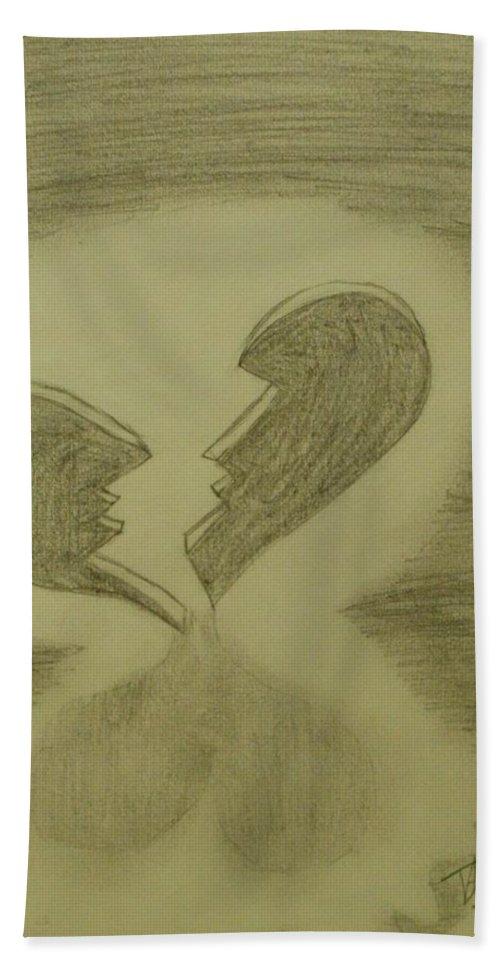 Broken Bath Sheet featuring the drawing Broken by Thomasina Durkay
