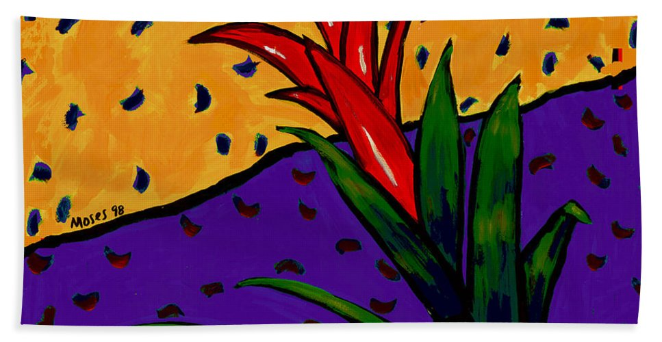 Bromeliad Bath Sheet featuring the painting Bromeliad by Dale Moses